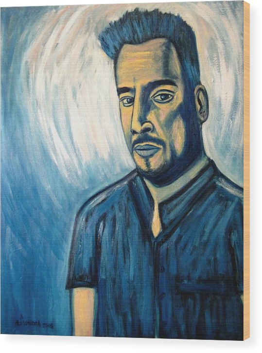 Figure Wood Print featuring the painting Self Portrait 2008 by Albert Almondia