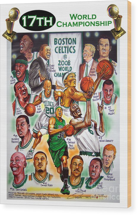 Nba Wood Print featuring the painting Boston Celtics World Championship Newspaper Poster by Dave Olsen
