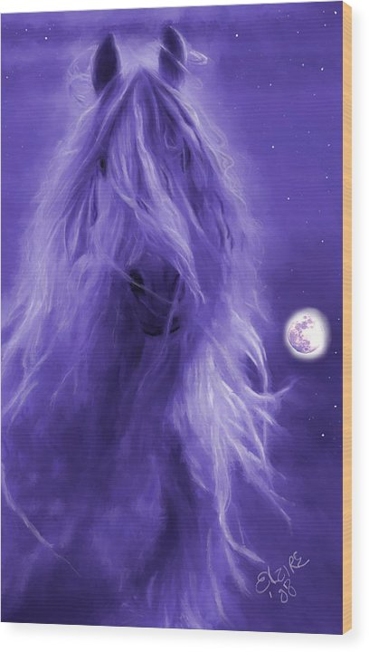 Purple Wood Print featuring the painting After Midnight by Elzire S
