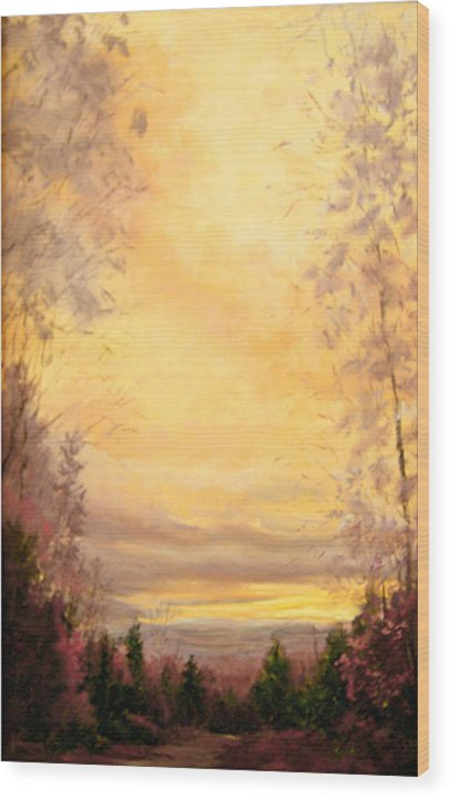 Sienna Wood Print featuring the painting Sojourn by JoAnne Lussier