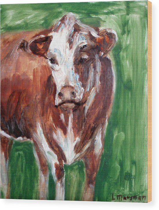 Animals Wood Print featuring the painting Alabama Cow by Lia Marsman