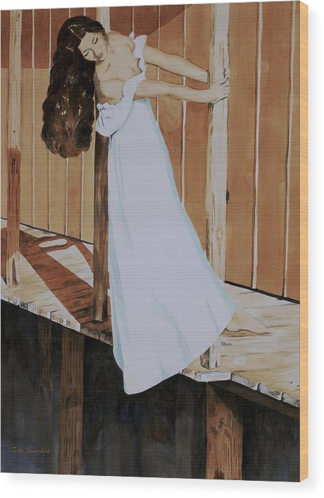 Girl On Dock Wood Print featuring the painting Girl On Dock by Judy Swerlick