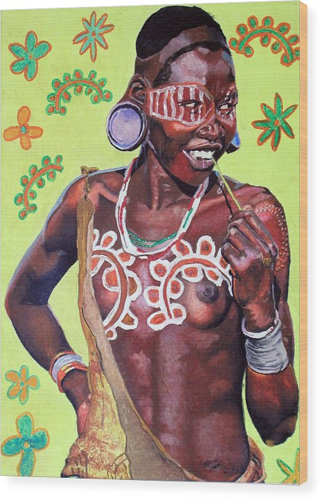 Africa Wood Print featuring the painting Daisy Child by Andre Ajibade