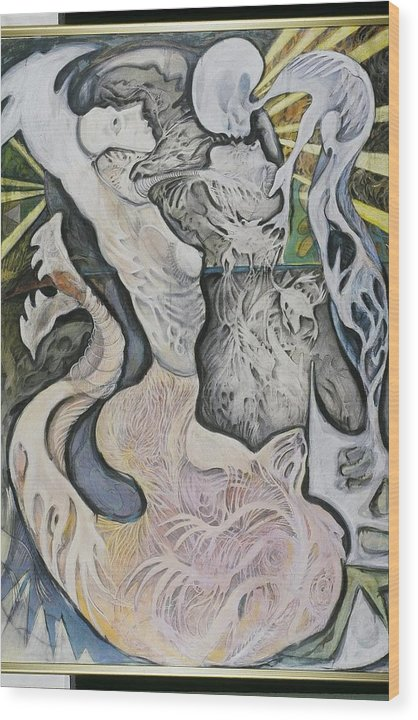 Wood Print featuring the mixed media Emergence by Michelle Spiziri