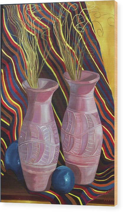 Still Life Wood Print featuring the painting Purple Vases by Antoaneta Melnikova- Hillman