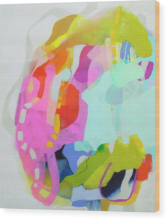 Abstract Wood Print featuring the painting I'm So Glad by Claire Desjardins
