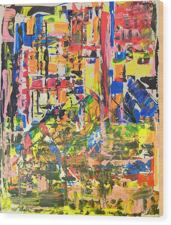 Abstract Art Wood Print featuring the painting Row Houses High Rises by J R Seymour