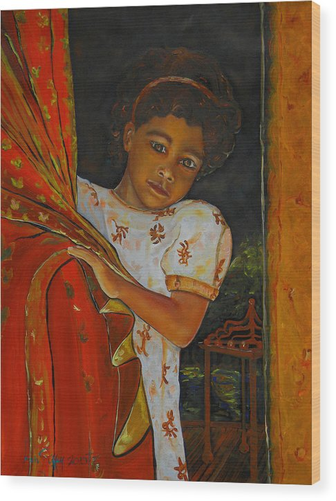 Oil On Canvas Wood Print featuring the painting Indian Girl by Ken Caffey