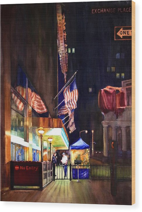 Street Scene Wood Print featuring the painting No Entry by Carolyn Epperly