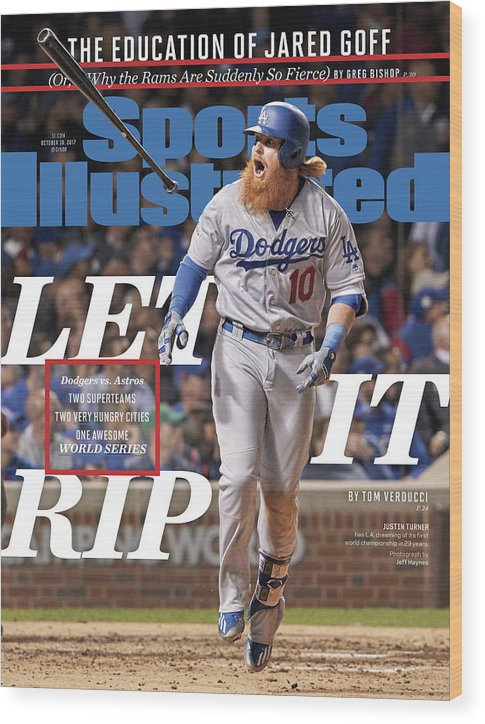 Magazine Cover Wood Print featuring the photograph Let It Rip 2017 World Series Preview Issue Sports Illustrated Cover by Sports Illustrated