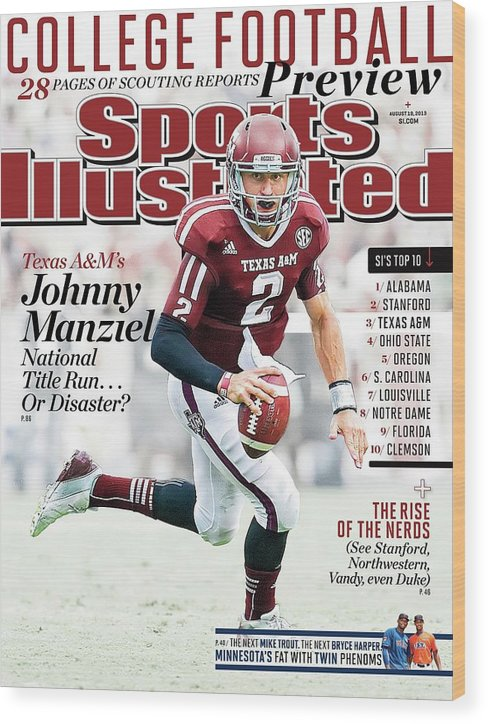 Magazine Cover Wood Print featuring the photograph 2013 College Football Preview Issue Sports Illustrated Cover by Sports Illustrated