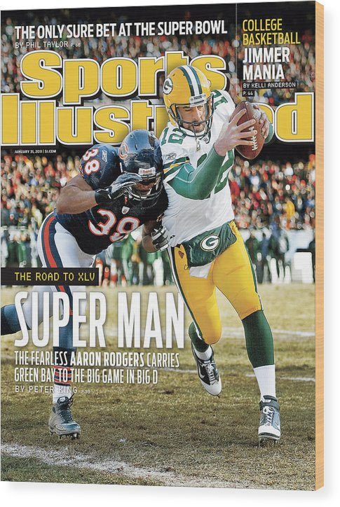 Magazine Cover Wood Print featuring the photograph 2011 Nfc Championship Green Bay Packers V Chicago Bears Sports Illustrated Cover by Sports Illustrated