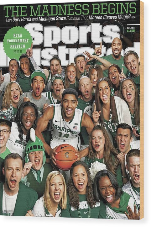 Michigan State University Wood Print featuring the photograph 2014 March Madness College Basketball Preview Part II Sports Illustrated Cover by Sports Illustrated