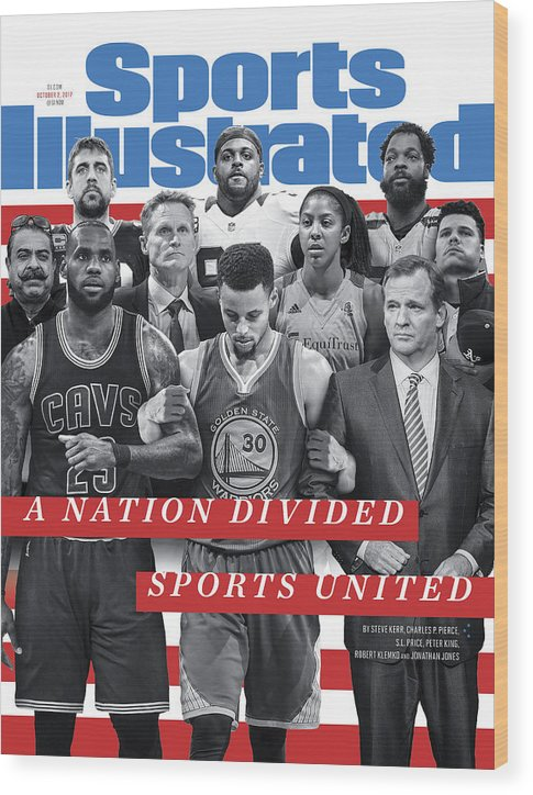 Magazine Cover Wood Print featuring the photograph A Nation Divided, Sports United Sports Illustrated Cover by Sports Illustrated