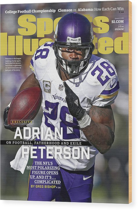 Magazine Cover Wood Print featuring the photograph Adrian Peterson Exclusive On Football. Fatherhood And Exile Sports Illustrated Cover by Sports Illustrated