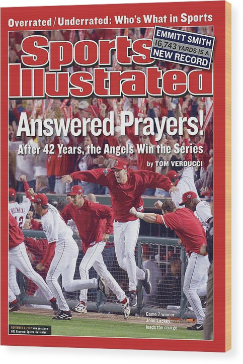 Magazine Cover Wood Print featuring the photograph Anaheim Angels John Lackey, 2002 World Series Sports Illustrated Cover by Sports Illustrated