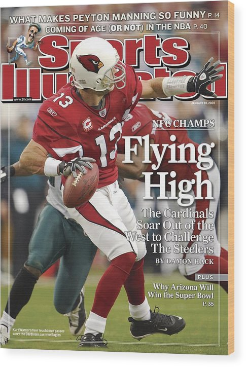 Arizona Cardinals Wood Print featuring the photograph Arizona Cardinals Qb Kurt Warner, 2009 Nfc Championship Sports Illustrated Cover by Sports Illustrated