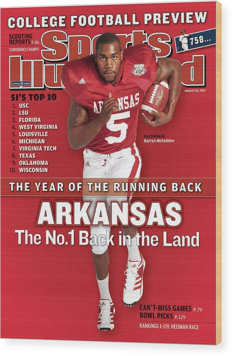 Magazine Cover Wood Print featuring the photograph Arkansas Darren Mcfadden, 2007 College Football Preview Sports Illustrated Cover by Sports Illustrated