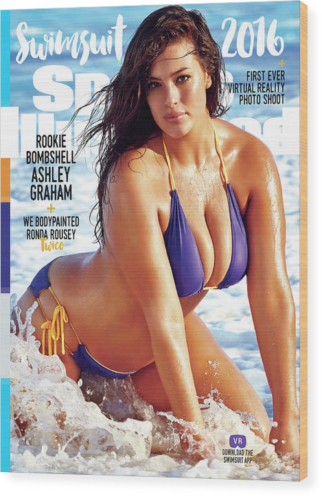 Three Quarter Length Wood Print featuring the photograph Ashley Graham Swimsuit 2016 Sports Illustrated Cover by Sports Illustrated