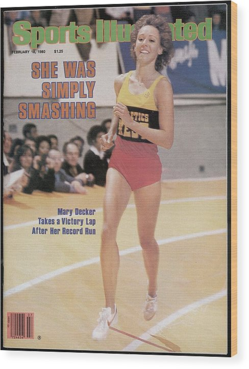 Magazine Cover Wood Print featuring the photograph Athletics West Mary Decker, 1980 Millrose Games Sports Illustrated Cover by Sports Illustrated