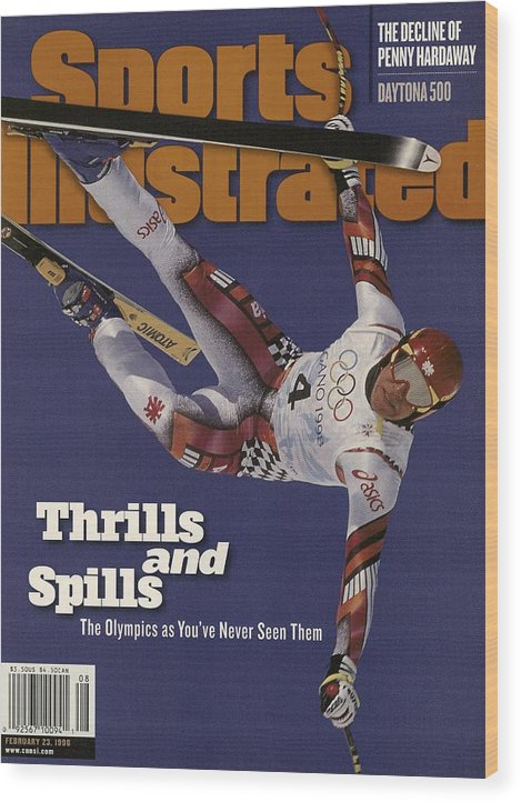 Skiing Wood Print featuring the photograph Austria Herman Maier, 1998 Winter Olympics Sports Illustrated Cover by Sports Illustrated