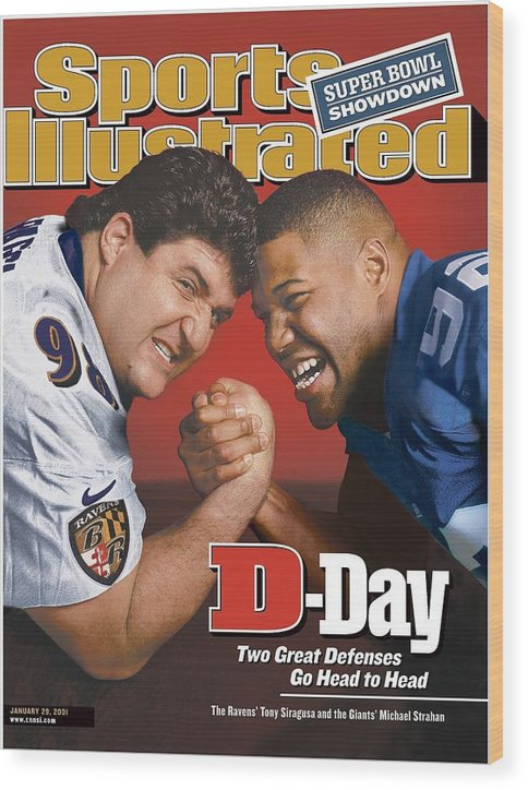 Wrestling Wood Print featuring the photograph Baltimore Ravens Tony Siragusa And New York Giants Michael Sports Illustrated Cover by Sports Illustrated