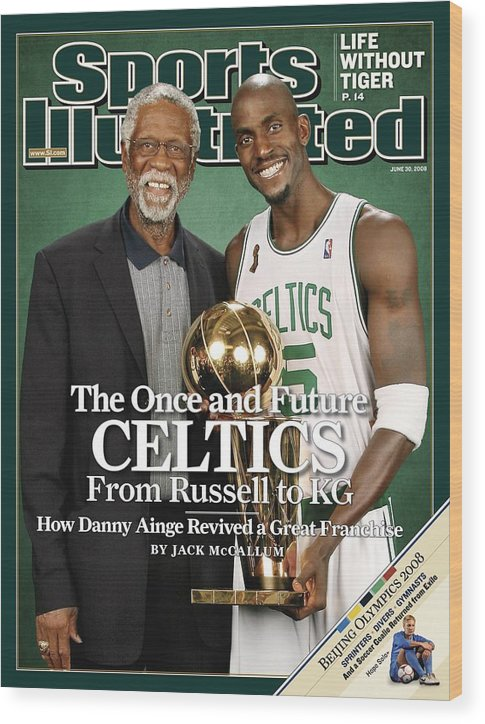 Magazine Cover Wood Print featuring the photograph Bill Russell And Boston Celtics Kevin Garnett, 2008 Nba Sports Illustrated Cover by Sports Illustrated