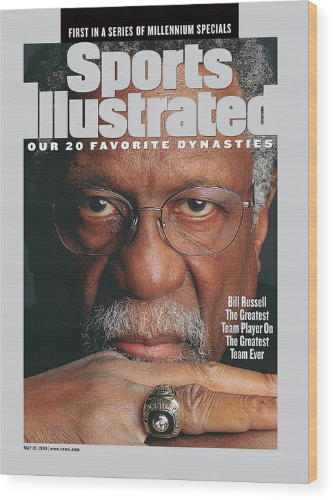 Magazine Cover Wood Print featuring the photograph Bill Russell, Hall Of Fame Basketball Sports Illustrated Cover by Sports Illustrated