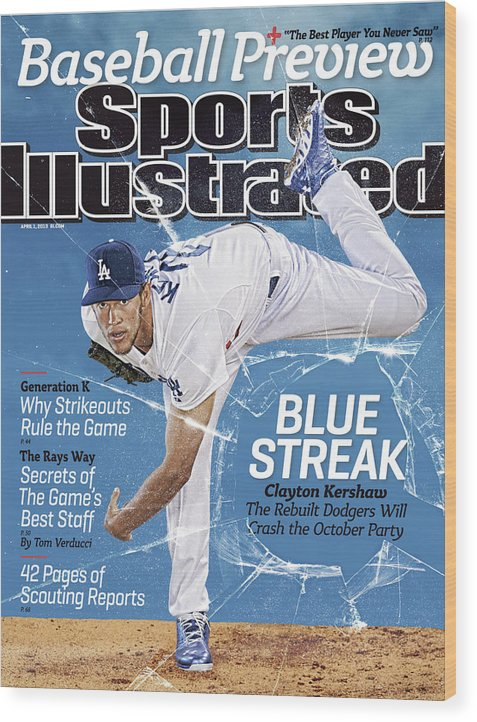 Magazine Cover Wood Print featuring the photograph Blue Streak, 2013 Mlb Baseball Preview Issue Sports Illustrated Cover by Sports Illustrated