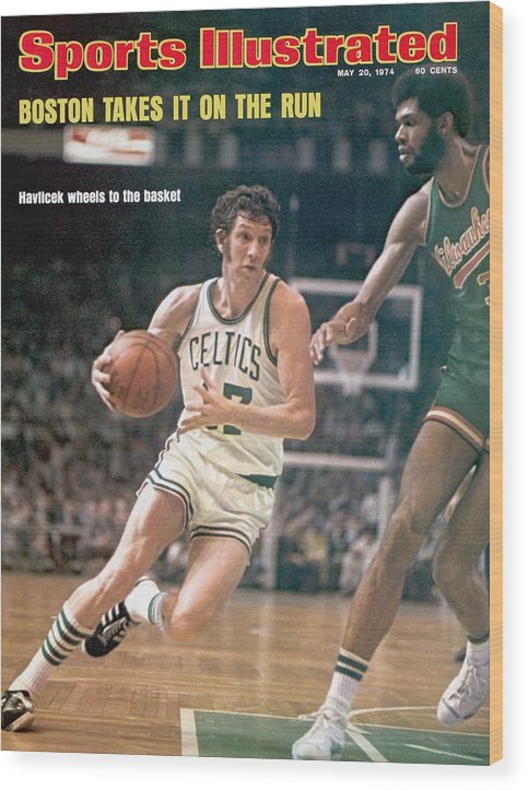 Magazine Cover Wood Print featuring the photograph Boston Celtics John Havlicek, 1974 Nba Finals Sports Illustrated Cover by Sports Illustrated