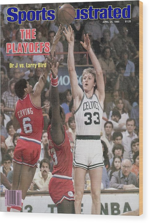 Magazine Cover Wood Print featuring the photograph Boston Celtics Larry Bird, 1980 Nba Eastern Conference Sports Illustrated Cover by Sports Illustrated
