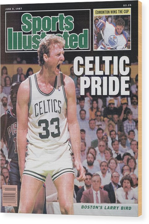 Playoffs Wood Print featuring the photograph Boston Celtics Larry Bird, 1987 Nba Eastern Conference Sports Illustrated Cover by Sports Illustrated