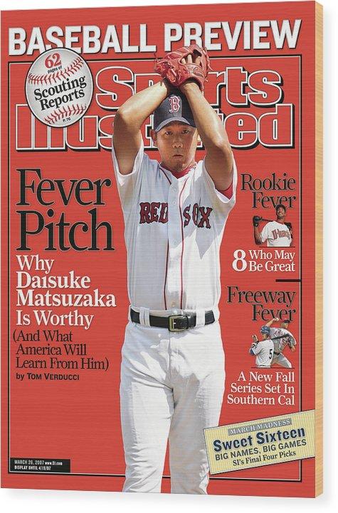 Magazine Cover Wood Print featuring the photograph Boston Red Sox Daisuke Matsuzaka... Sports Illustrated Cover by Sports Illustrated