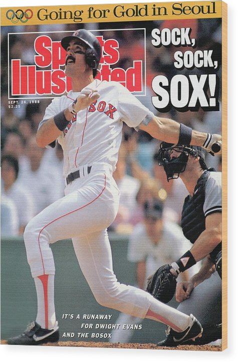 Magazine Cover Wood Print featuring the photograph Boston Red Sox Dwight Evans... Sports Illustrated Cover by Sports Illustrated