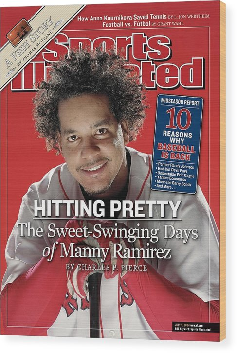 Magazine Cover Wood Print featuring the photograph Boston Red Sox Manny Ramirez Sports Illustrated Cover by Sports Illustrated