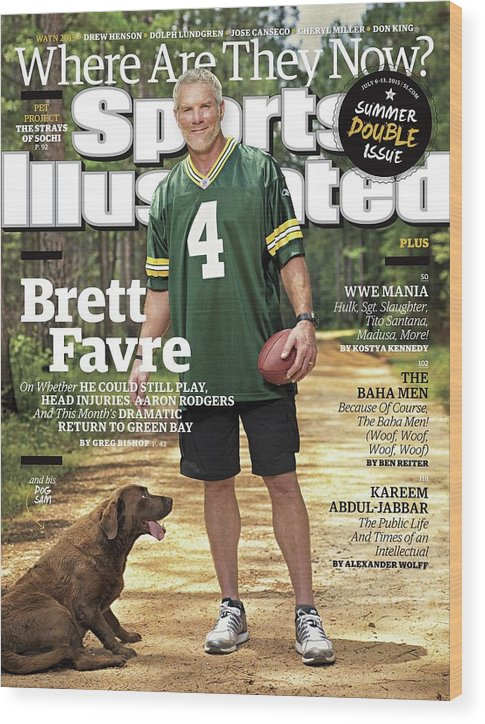 Magazine Cover Wood Print featuring the photograph Brett Favre, Where Are They Now Sports Illustrated Cover by Sports Illustrated