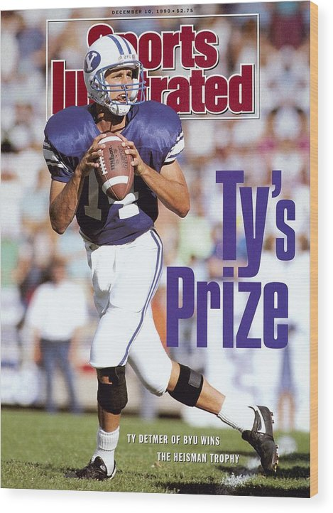 Provo Wood Print featuring the photograph Brigham Young University Qb Ty Detmer Sports Illustrated Cover by Sports Illustrated