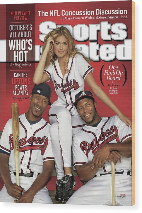 Magazine Cover Wood Print featuring the photograph Can The Uptons Power Atlanta One Fans On Board 2013 Mlb Sports Illustrated Cover by Sports Illustrated