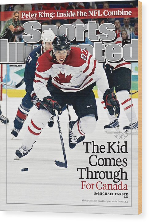 The Olympic Games Wood Print featuring the photograph Canada Sidney Crosby, 2010 Winter Olympics Sports Illustrated Cover by Sports Illustrated