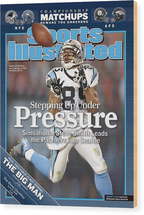 Playoffs Wood Print featuring the photograph Carolina Panthers Steve Smith, 2006 Nfc Divisional Playoffs Sports Illustrated Cover by Sports Illustrated