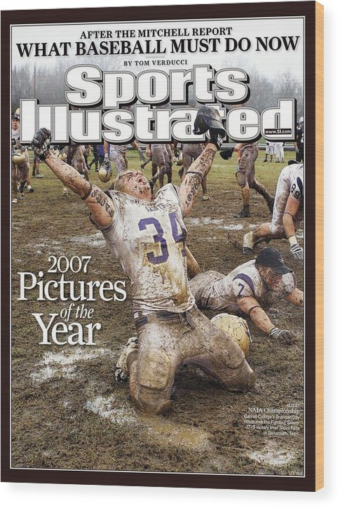 Magazine Cover Wood Print featuring the photograph Carroll College Brandon Day, 2007 Naia National Football Sports Illustrated Cover by Sports Illustrated
