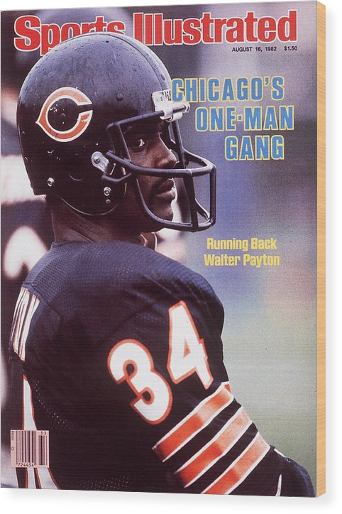 Magazine Cover Wood Print featuring the photograph Chicago Bears Walter Payton Sports Illustrated Cover by Sports Illustrated