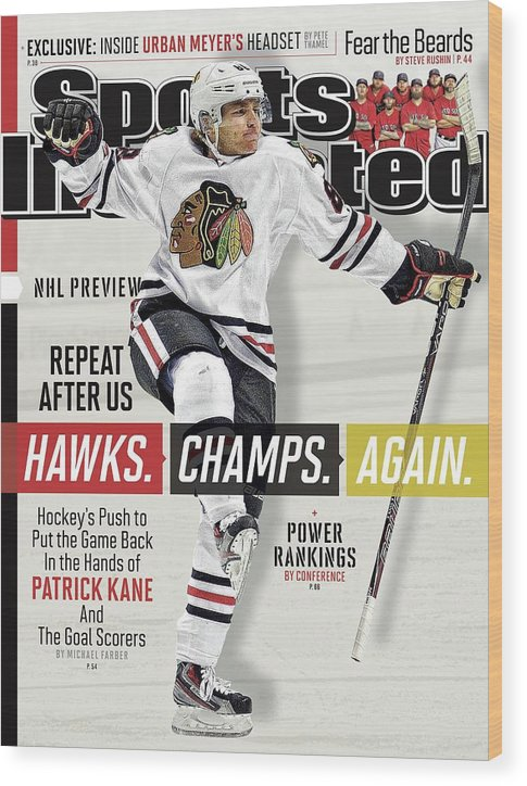 Magazine Cover Wood Print featuring the photograph Chicago Blackhawks Patrick Kane, 2013-14 Nhl Hockey Season Sports Illustrated Cover by Sports Illustrated