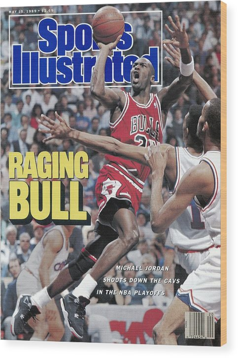 Playoffs Wood Print featuring the photograph Chicago Bulls Michael Jordan, 1989 Nba Eastern Conference Sports Illustrated Cover by Sports Illustrated
