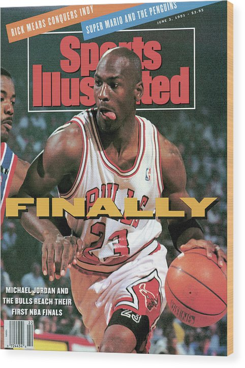Playoffs Wood Print featuring the photograph Chicago Bulls Michael Jordan, 1991 Nba Eastern Conference Sports Illustrated Cover by Sports Illustrated