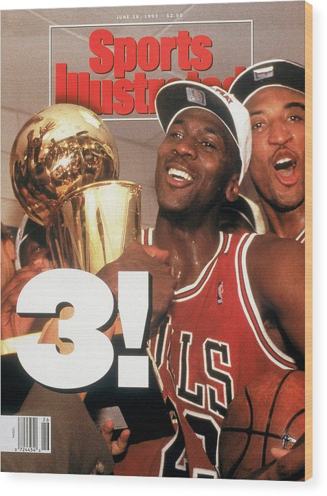 Magazine Cover Wood Print featuring the photograph Chicago Bulls Michael Jordan, 1993 Nba Finals Sports Illustrated Cover by Sports Illustrated