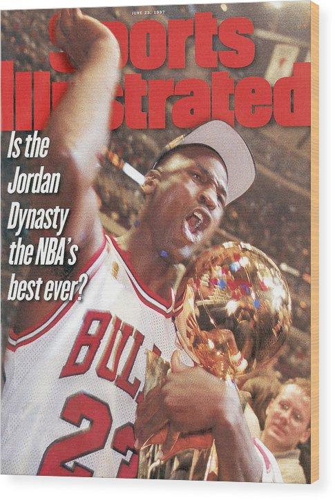 Magazine Cover Wood Print featuring the photograph Chicago Bulls Michael Jordan, 1997 Nba Finals Sports Illustrated Cover by Sports Illustrated