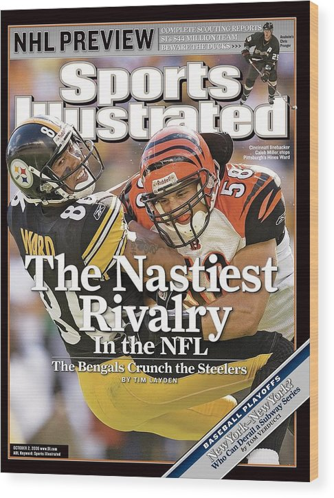 Magazine Cover Wood Print featuring the photograph Cincinnati Bengals Caleb Miller... Sports Illustrated Cover by Sports Illustrated