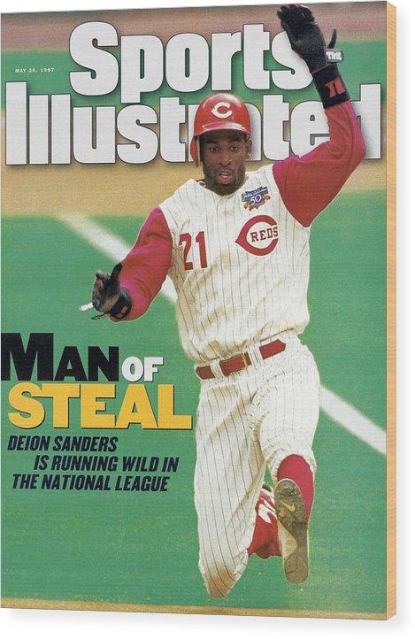 Magazine Cover Wood Print featuring the photograph Cincinnati Reds Deion Sanders... Sports Illustrated Cover by Sports Illustrated