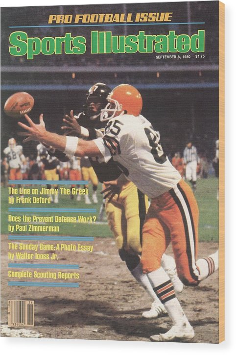 Catching Wood Print featuring the photograph Cleveland Browns Dave Logan And Pittsburgh Steelers Mel Sports Illustrated Cover by Sports Illustrated